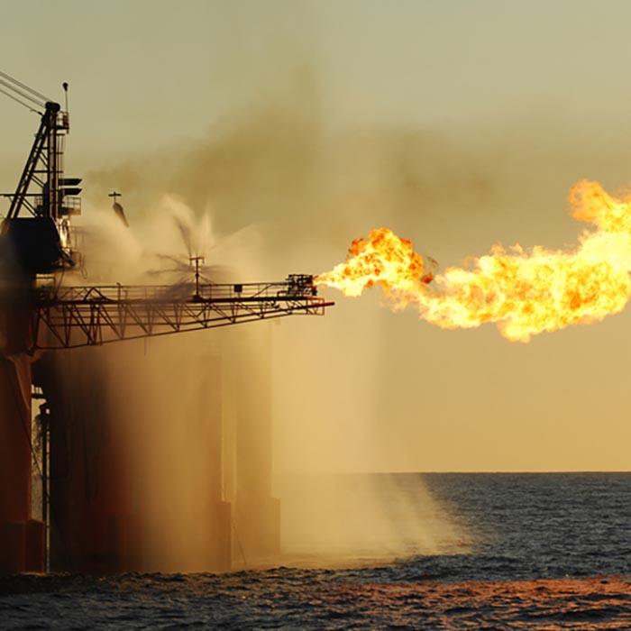 Flare on an ocean oil rig.