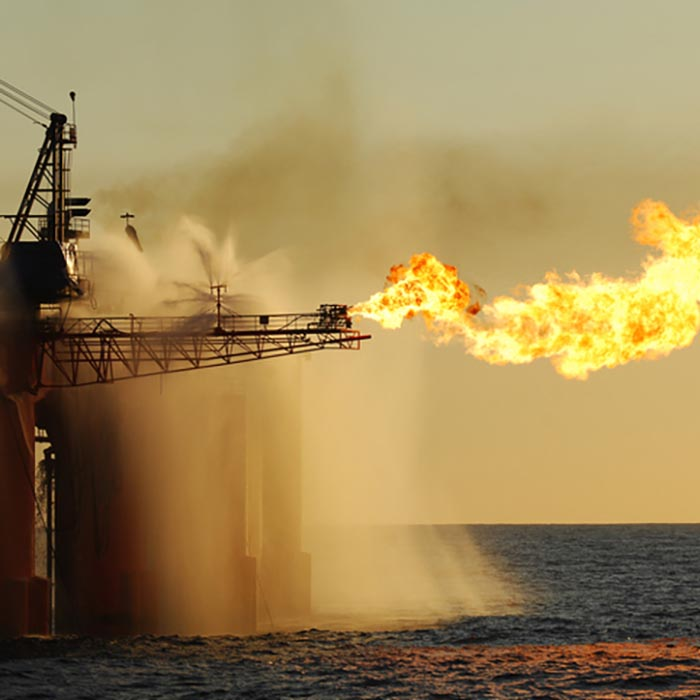 Flare on an ocean oil rig.